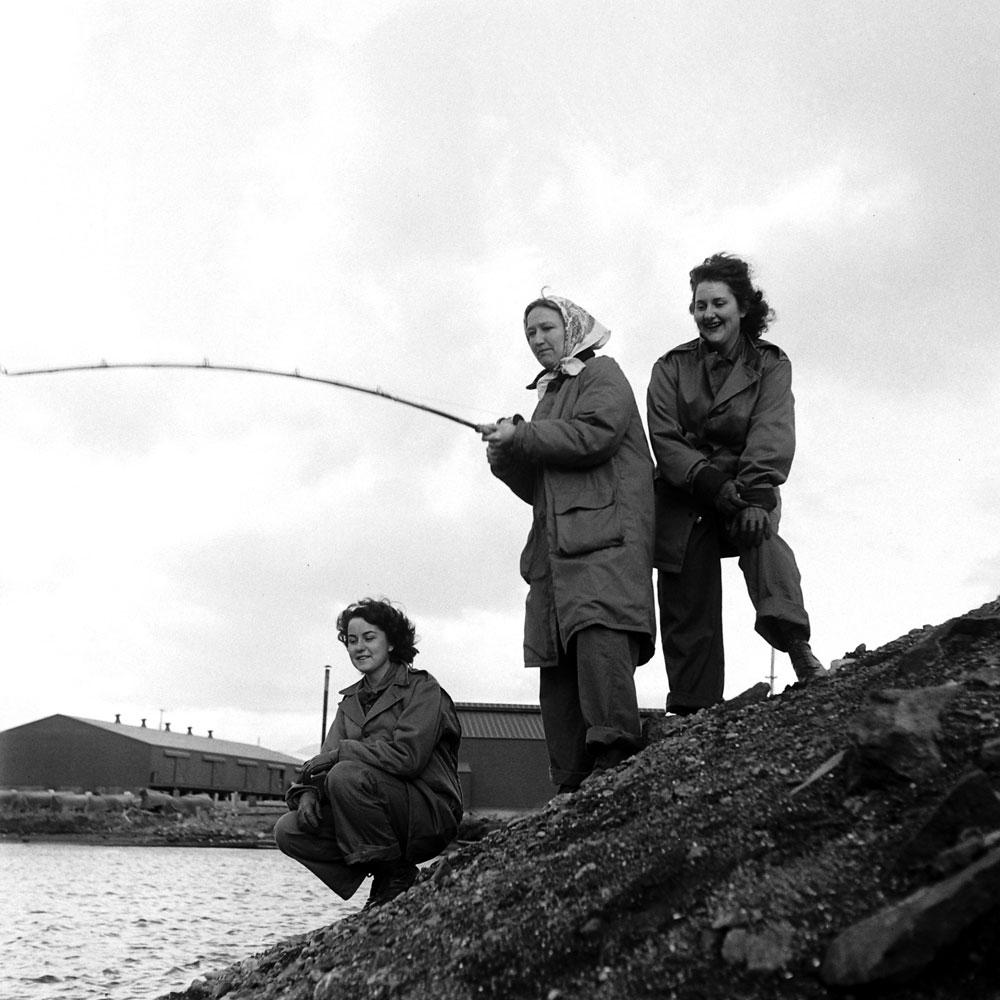 Nurses fishing, Dutch Harbor, Aleutian Campaign, Alaska, 1943.