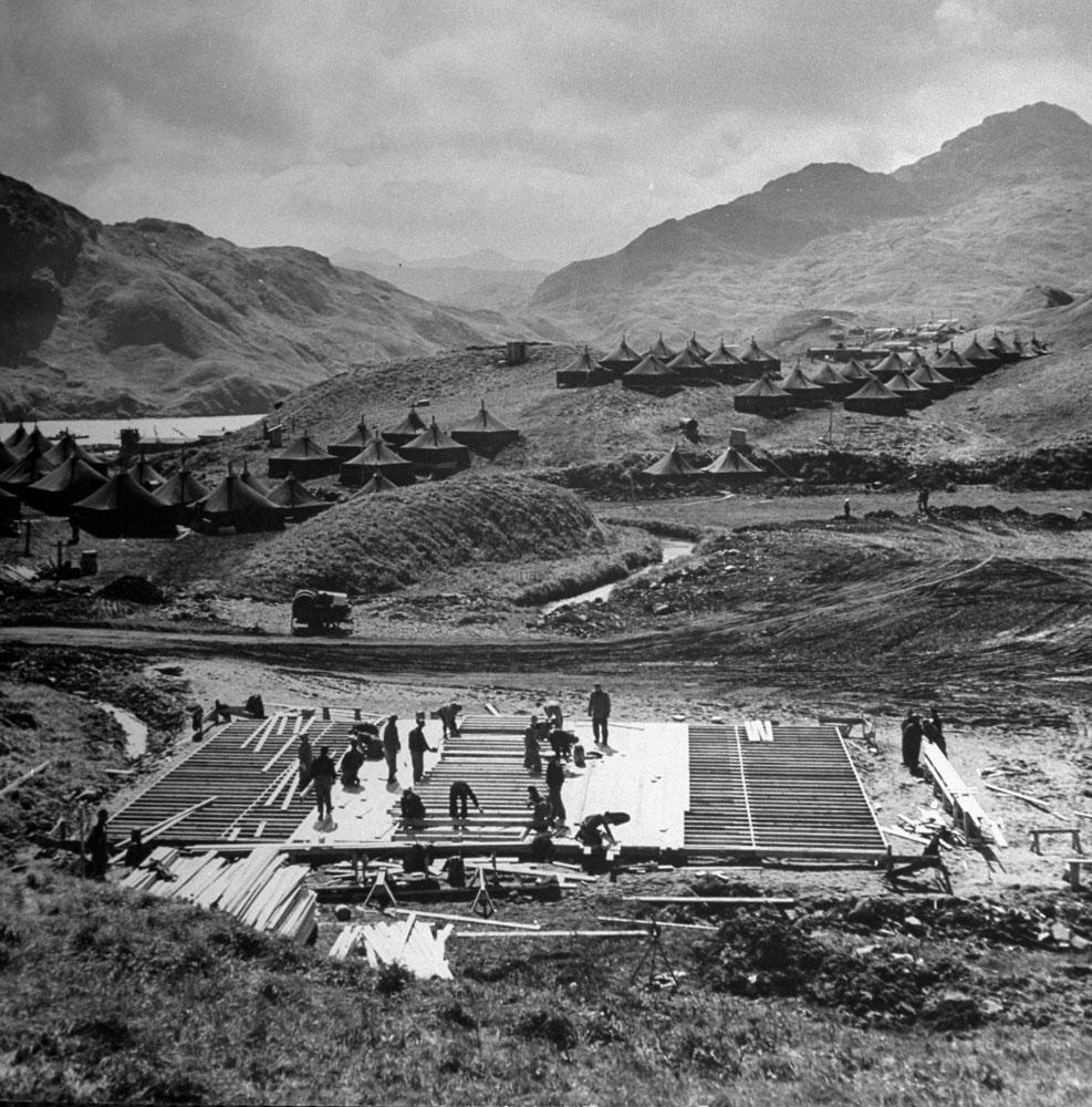 Seabee carpenters (of the U.S. Navy's Construction Battalion), Aleutian Campaign, Alaska, 1943.