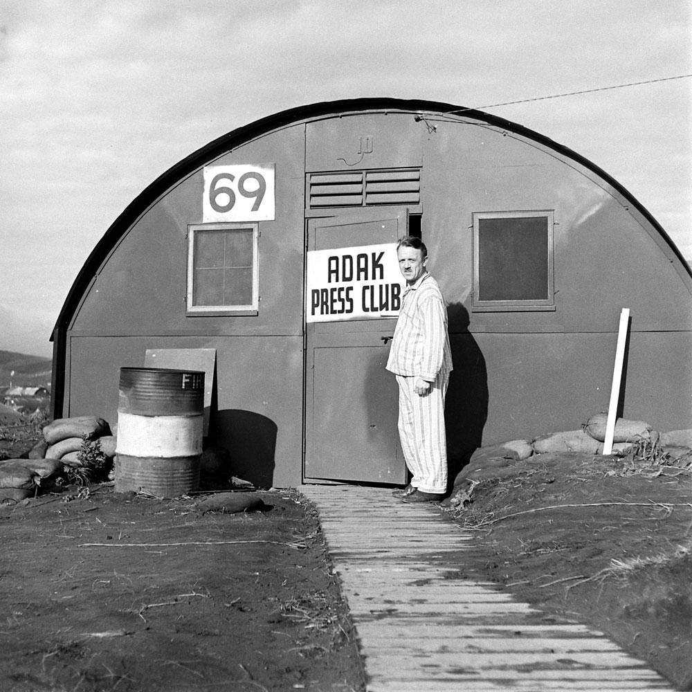 "The ""Press Club"" on Adak Island, Aleutian Campaign, Alaska, 1943."