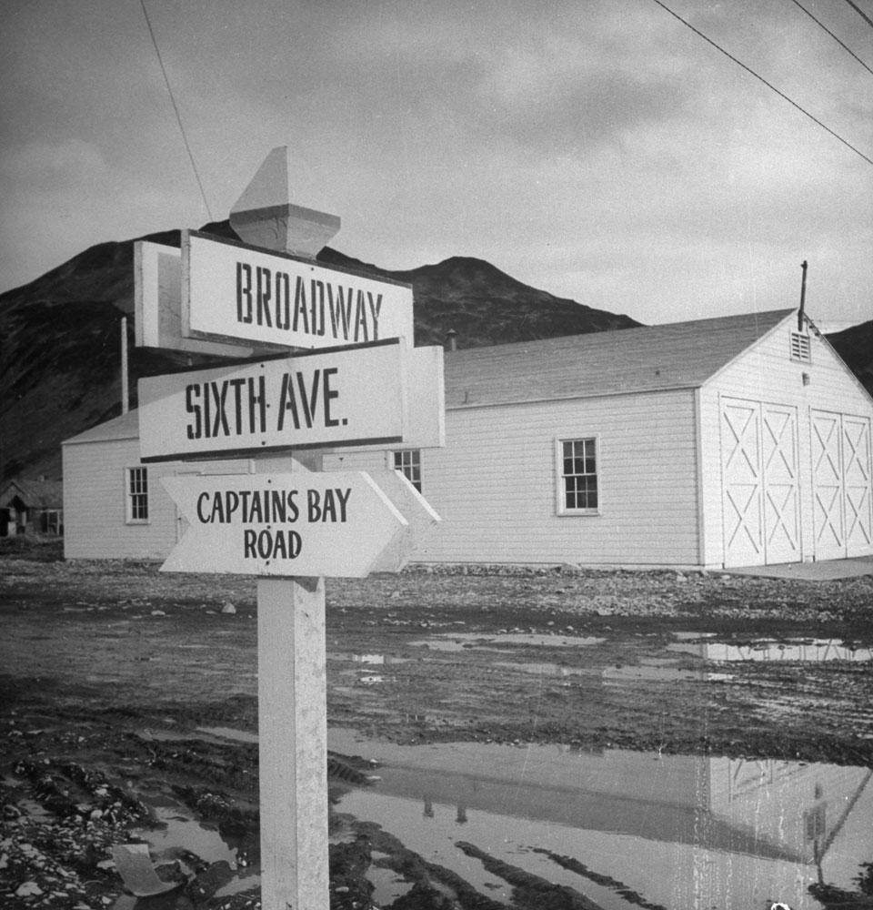 Street sign in the town of Unalaska during World War II, Aleutian Islands Campaign, Alaska, 1943.