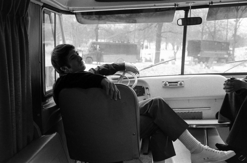 Dustin Hoffman in his trailer during the filming of the movie, John and Mary, in which he starred with Mia Farrow, New York City, 1969.