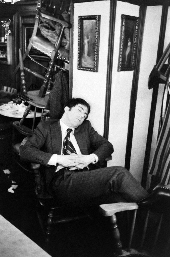 Dustin Hoffman asleep on the set of the 1969 movie, John and Mary.