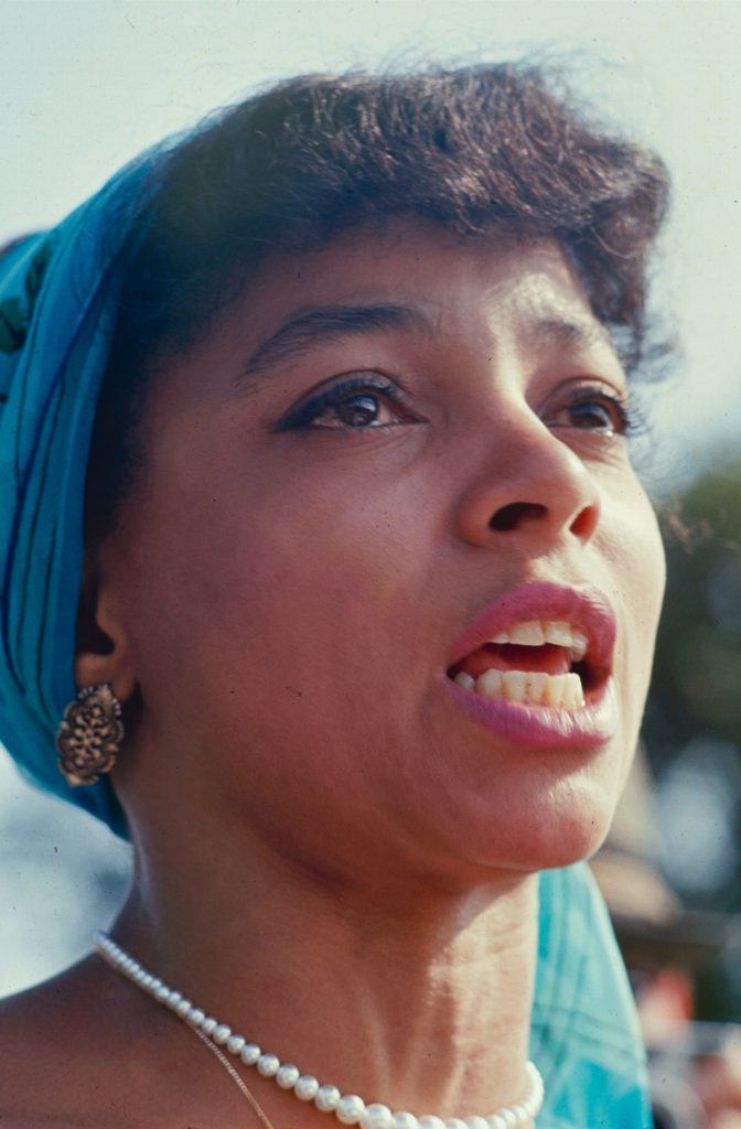 """Actress and activist Ruby Dee, who with her husband, Ossie Davis, served as """"master and mistress"""" of ceremonies at the March on Washington for Jobs and Freedom, August 28, 1963."""