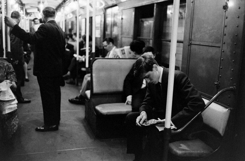 Bobby Fischer on the subway, New York, 1962.