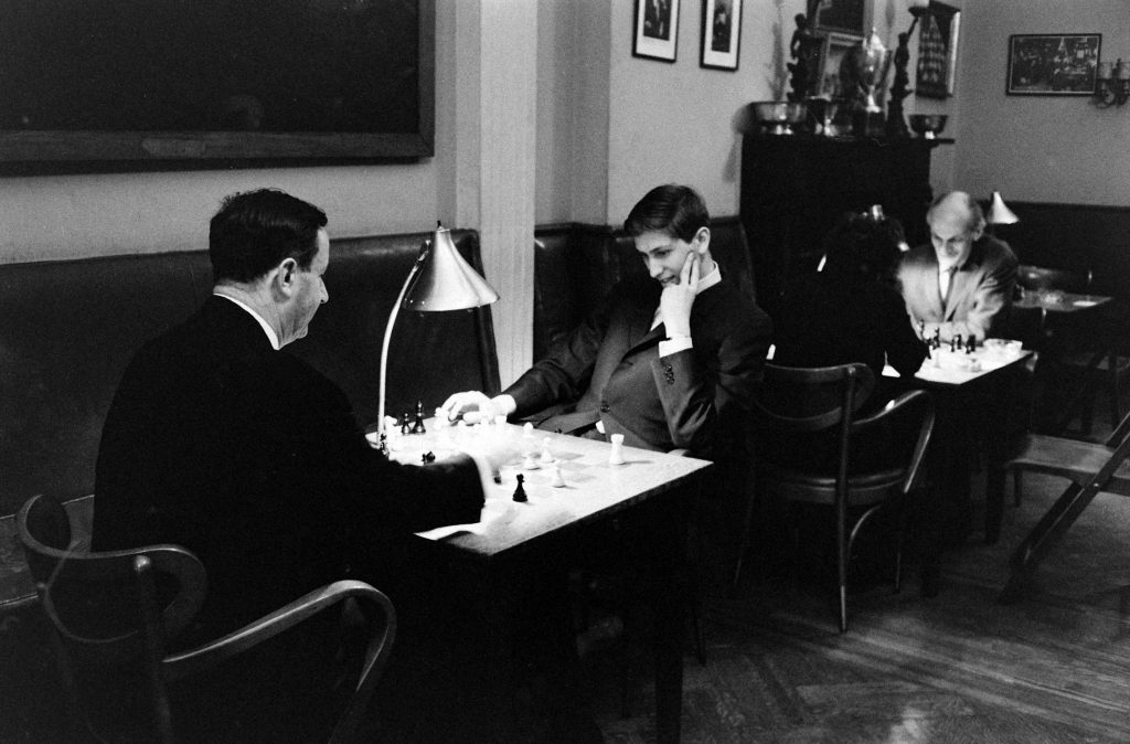 Bobby Fischer plays chess with an unidentified opponent , New York, 1962.