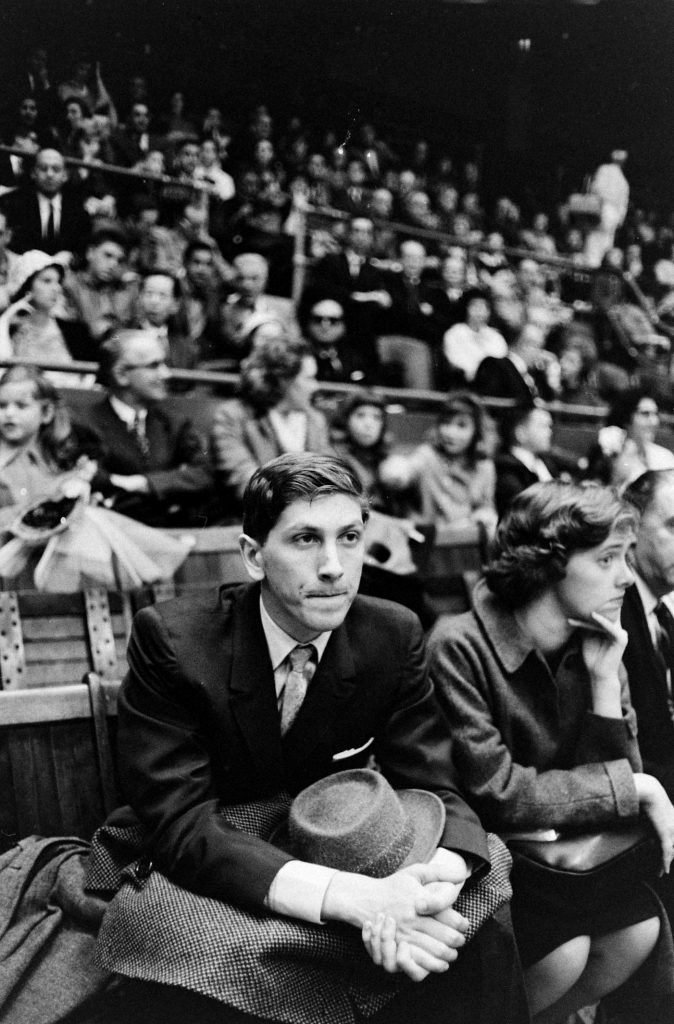Bobby Fischer at a ballgame, New York, 1962.