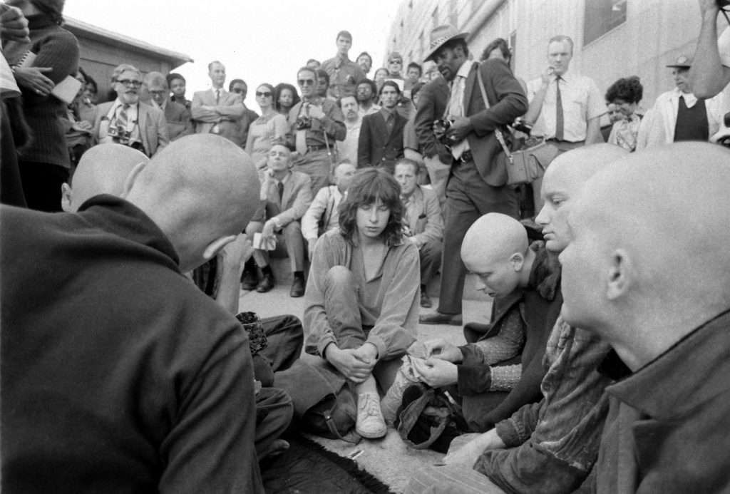 Charles Manson supporters outside the courthouse during his murder trial, Los Angeles, 1970.