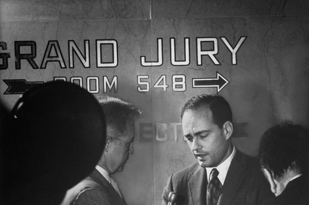 Deputy district attorney Vincent Bugliosi in the Los Angeles Hall of Justice being interviewed at the beginning of grand jury hearings in the Tate-LaBianca murders, 1969.