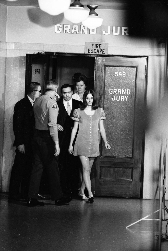 Manson Family member Susan Atkins leaves the Grand Jury room, Los Angeles Hall of Justice, December 1969.
