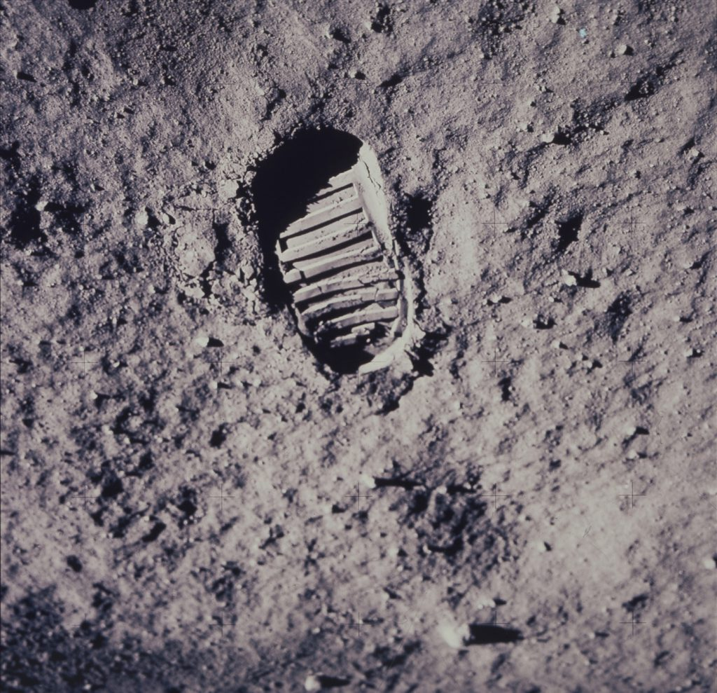 Footprint left on the moon by Apollo 11 astronaut, 1969.