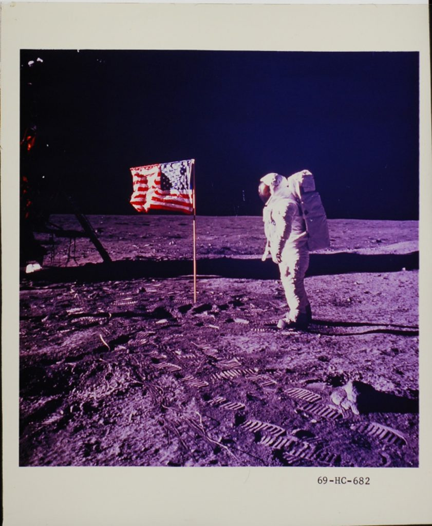 Buzz Aldrin on the moon, photographed by Neil Armstrong, July 1969.