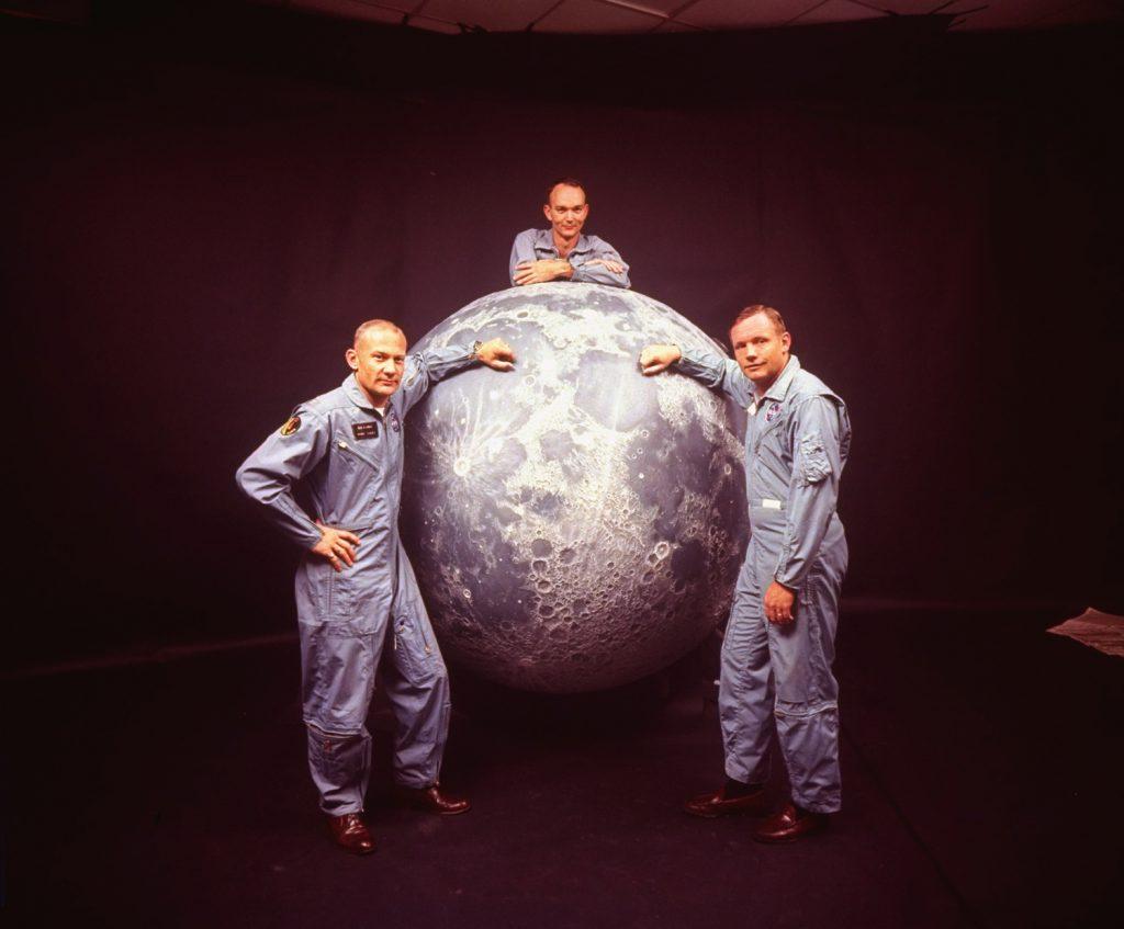 Apollo 11 Lunar Module pilot Buzz Aldrin; Command Module pilot Michael Collins; Mission Commander Neil Armstrong, March 1969.