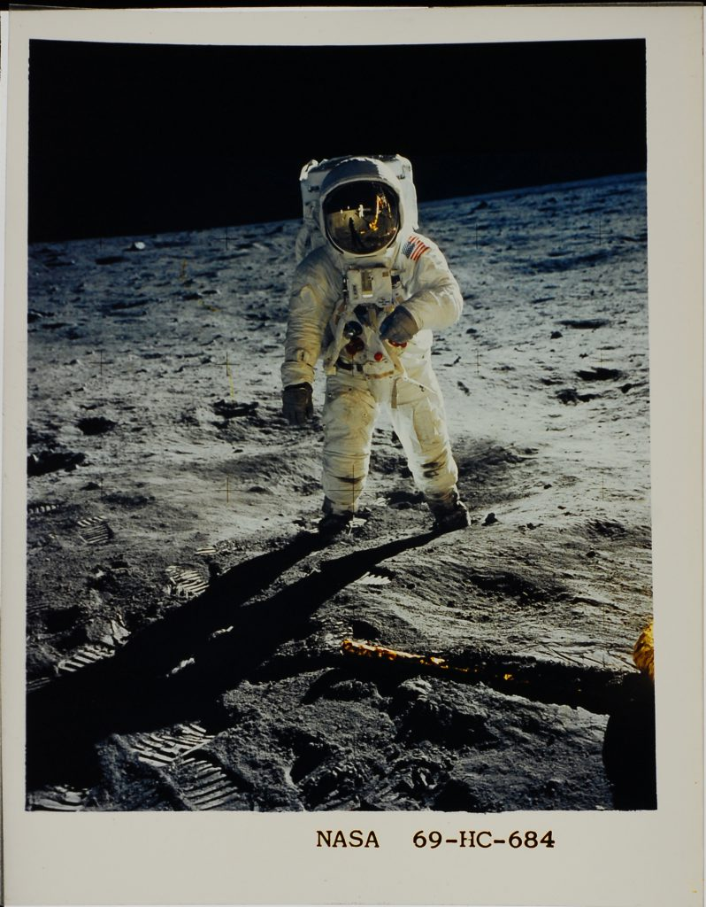 Astronaut Buzz Aldrin stands on the lunar surface, photographed by Neil Armstrong, July 1969.