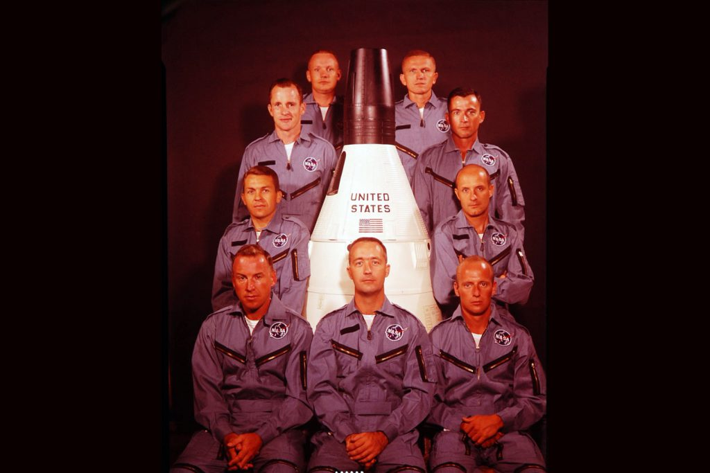 NASA's newest astronauts, 1963: Bottom row (from left): James Lovell Jr., James McDivitt, and Charles Conrad Jr.; second row: Elliot See Jr. and Major Thomas Stafford; third row: Captain Edward White II and Lt. Commander John Young; top row: Neil Armstrong and Major Frank Borman.