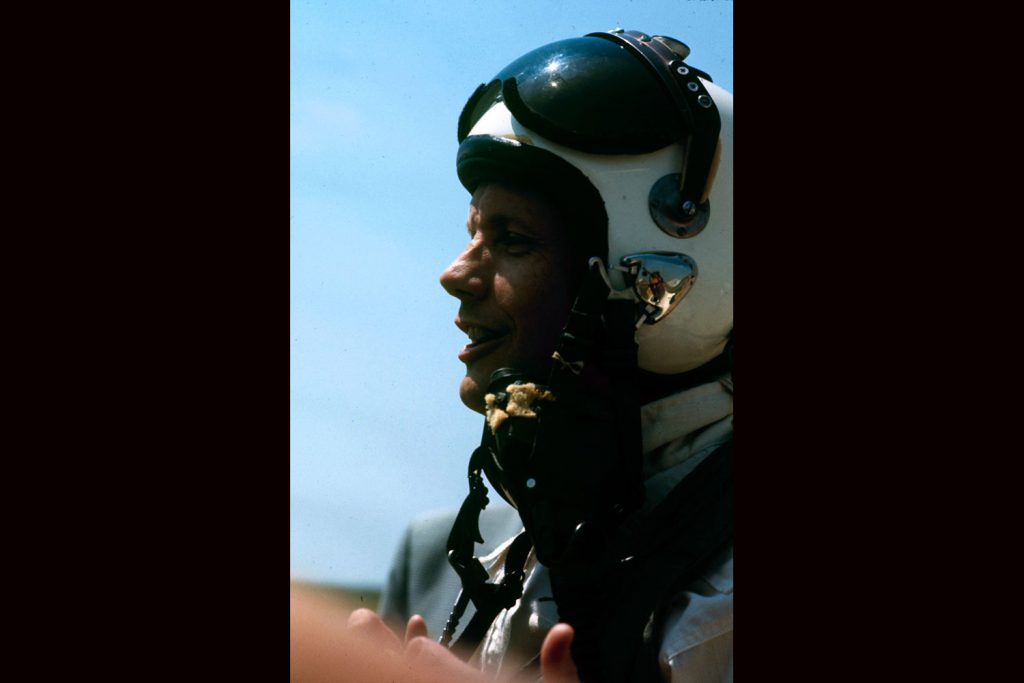 Neil Armstrong training for the Apollo 11 mission, Ellington Air Force Base, Texas, 1968.