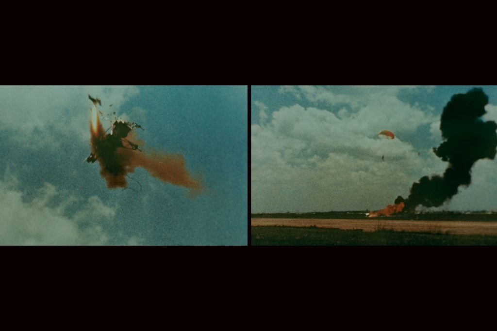 """Neil Armstrong ejecting safely as a """"flying bedstead"""" (a prototype lunar lander) crashes and burns, 1968."""