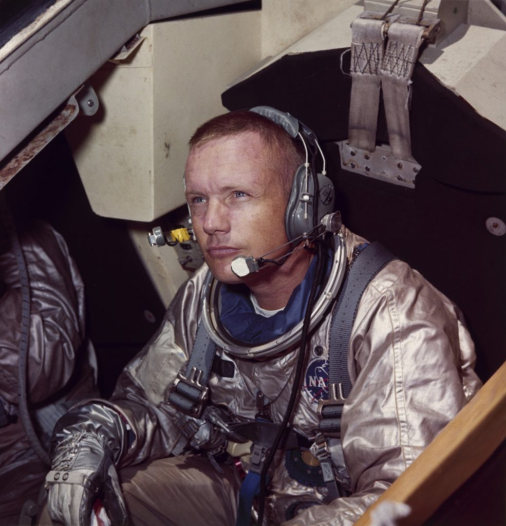 Neil Armstrong, commander of the Apollo 11 mission to moon, in training for his work on the lunar surface, 1969.