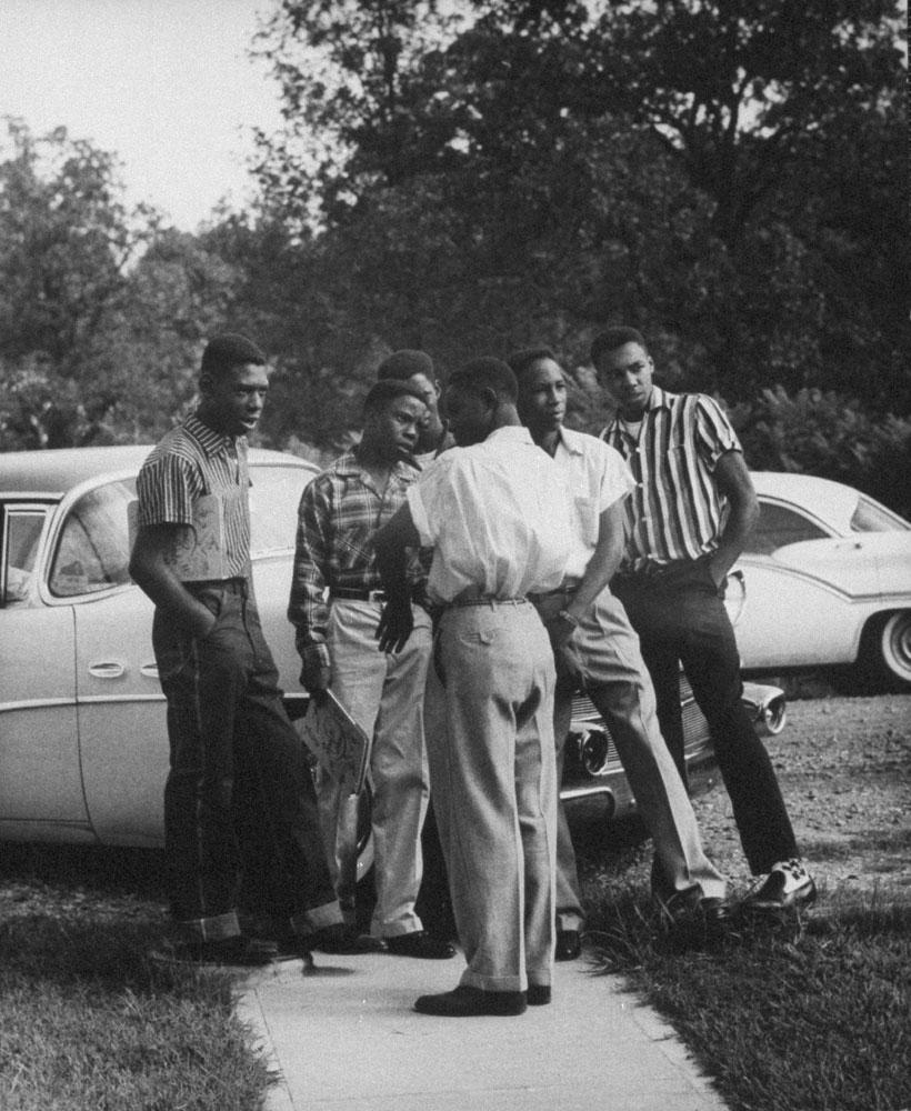 African American students, Little Rock, Arkansas, 1957.