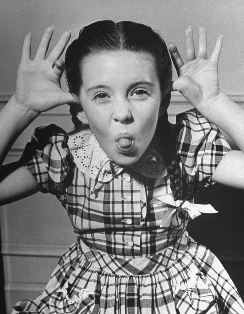Child star Margaret O'Brien makes a classic face, 1945.