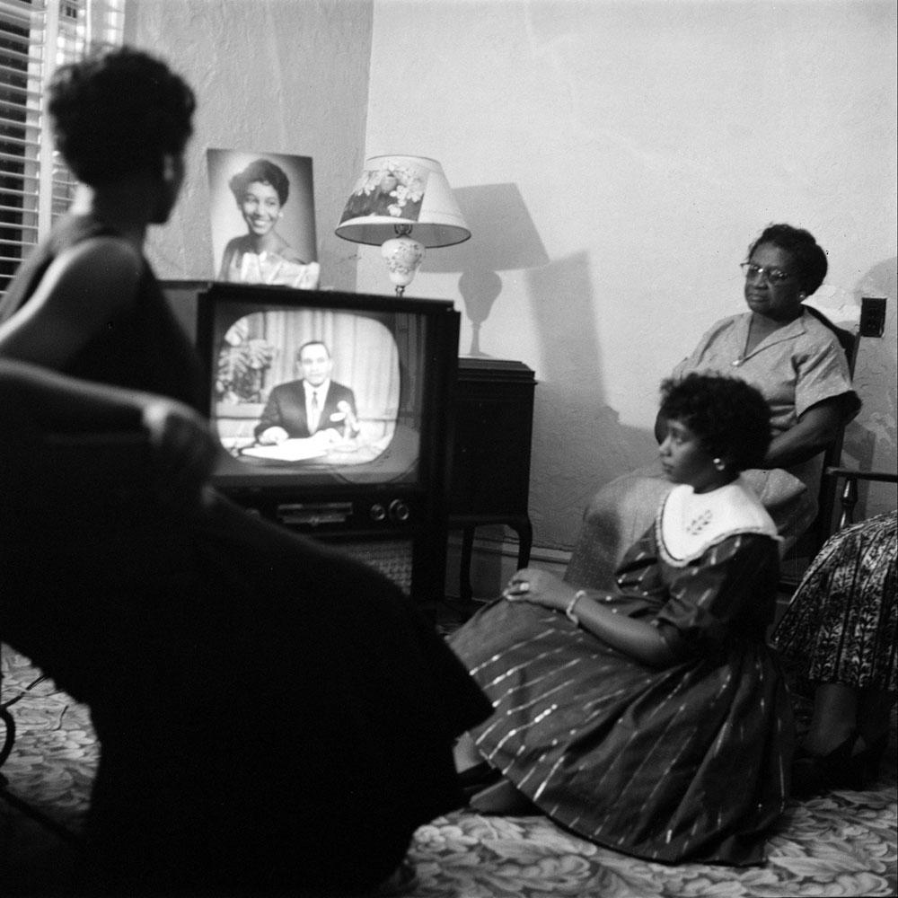 Elizabeth Eckford and family watch TV, Little Rock, Arkansas, 1957.