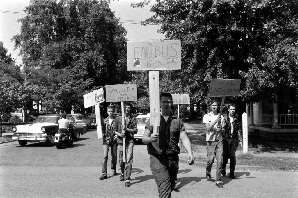 Segregationists picket in Little Rock, Arkansas, 1957.