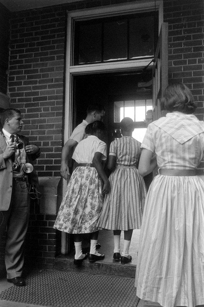 Students enter a previously segregated school, Arkansas, 1958.