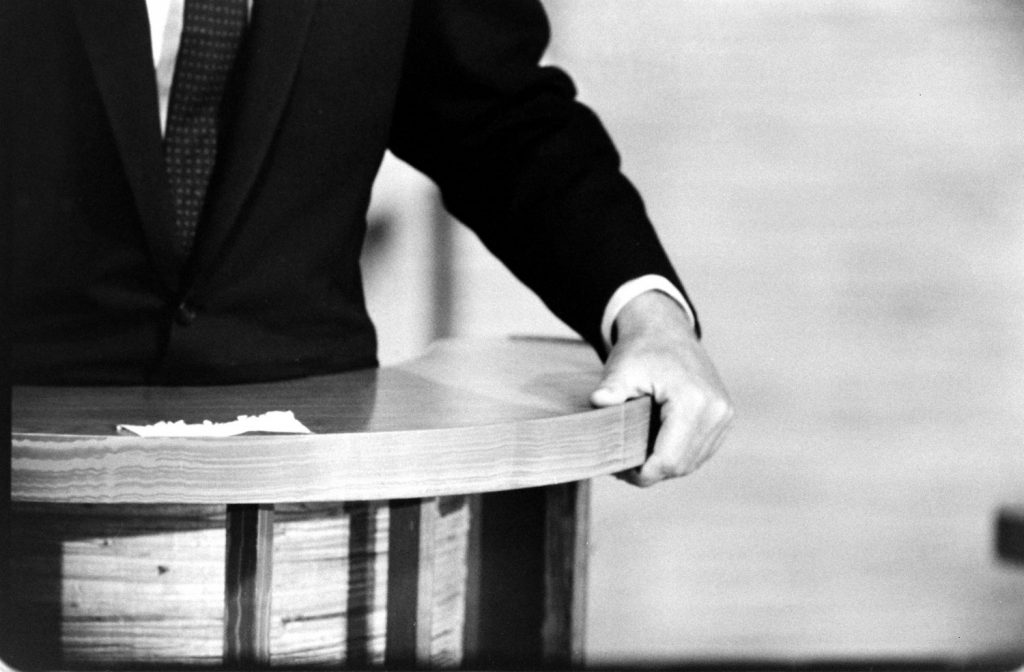 Photo of JFK's hand made during the Kennedy-Nixon debates, 1960.