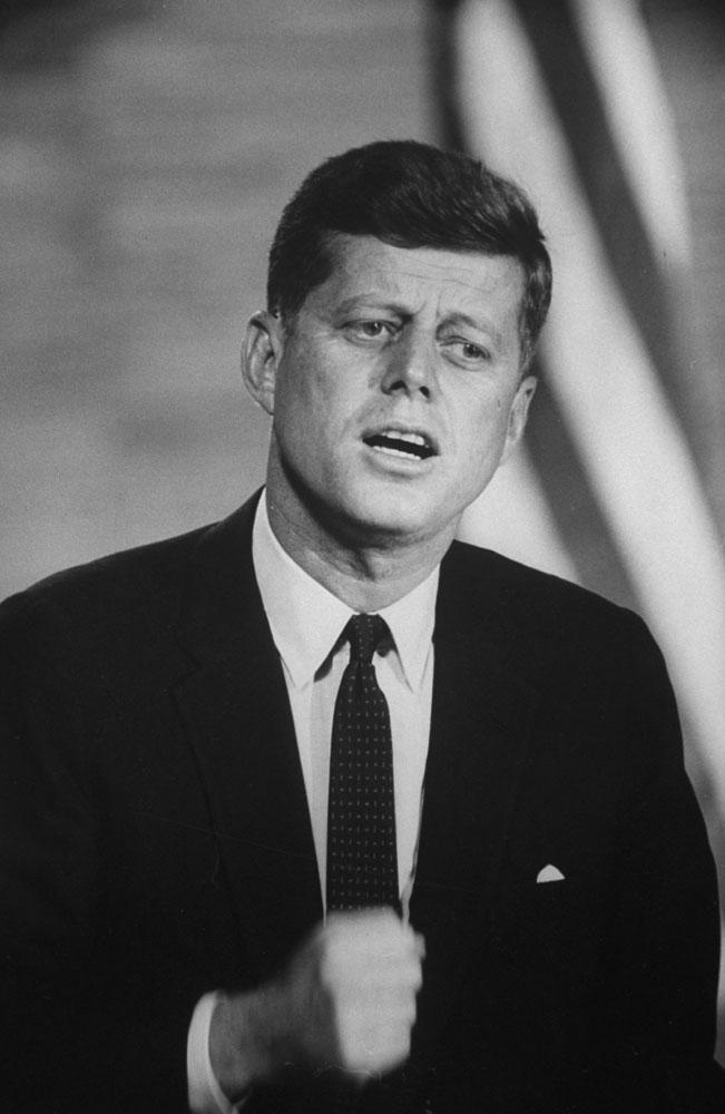 John F. Kennedy gestures during the Kennedy-Nixon debates, 1960.