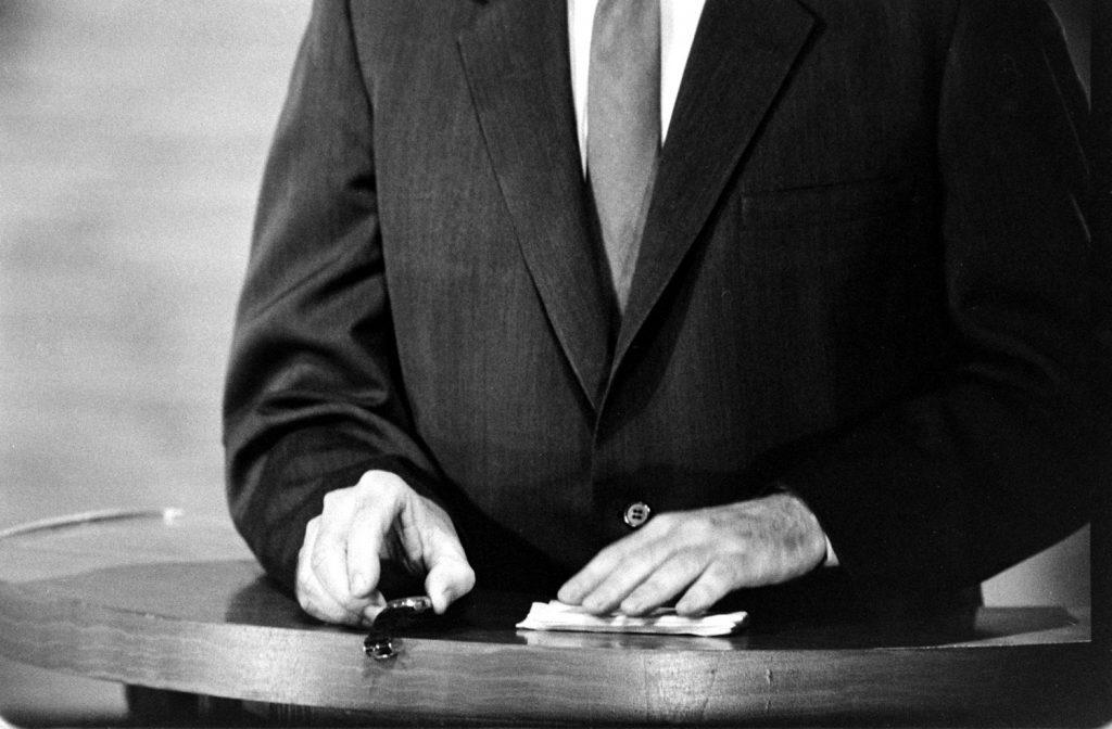 Richard Nixon's hands during the Kennedy-Nixon debates, 1960.