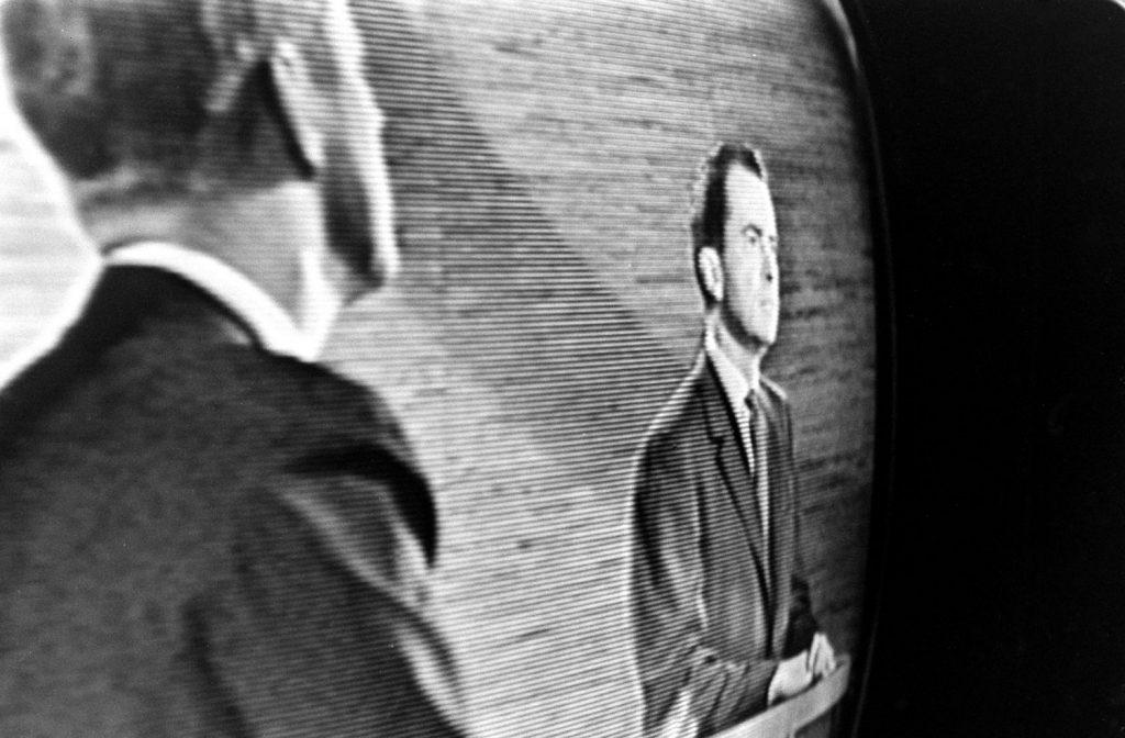 Photo made during the Kennedy-Nixon debates, 1960.