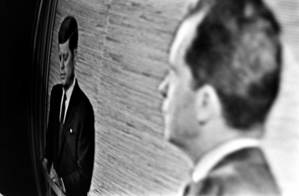 A shot of a TV screen during the Kennedy-Nixon debates, 1960.