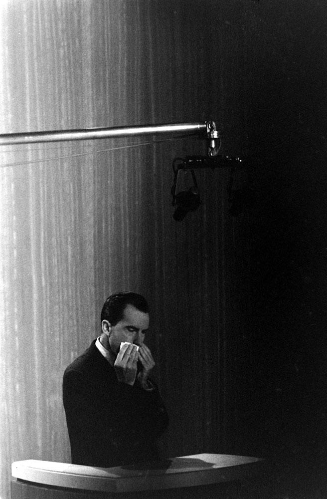 Photo of Richard Nixon made during the Kennedy-Nixon debates, 1960.