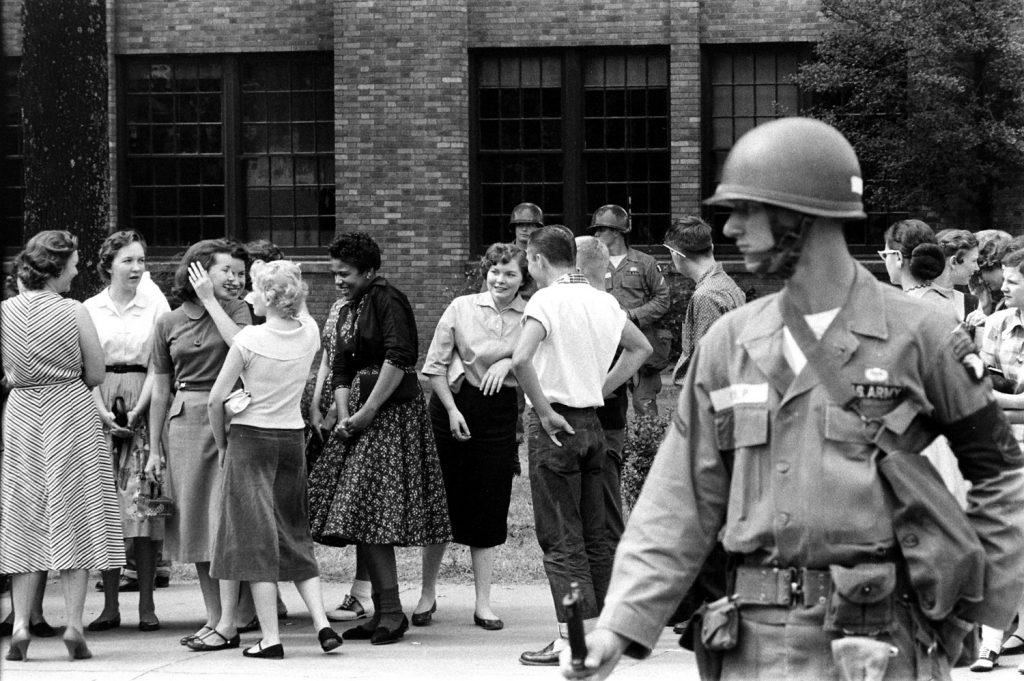 Scene in Little Rock, Arkansas, during anti-integration protests in September 1957.