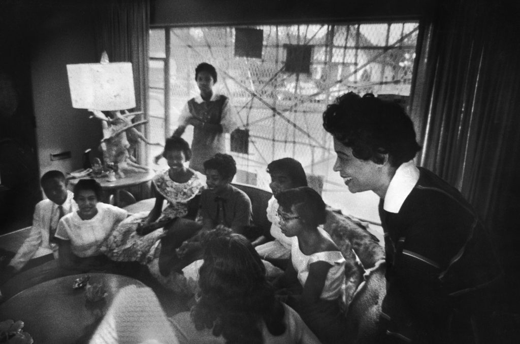 Mrs. Daisy Bates, NAACP leader, meets with African-American students that have been denied admittance to public schools, Little Rock, Arkansas, 1957.