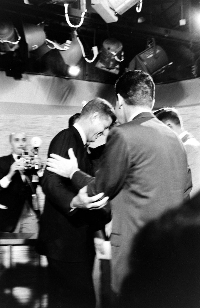 Photo of JFK and Nixon made after the second Kennedy-Nixon debate, 1960.