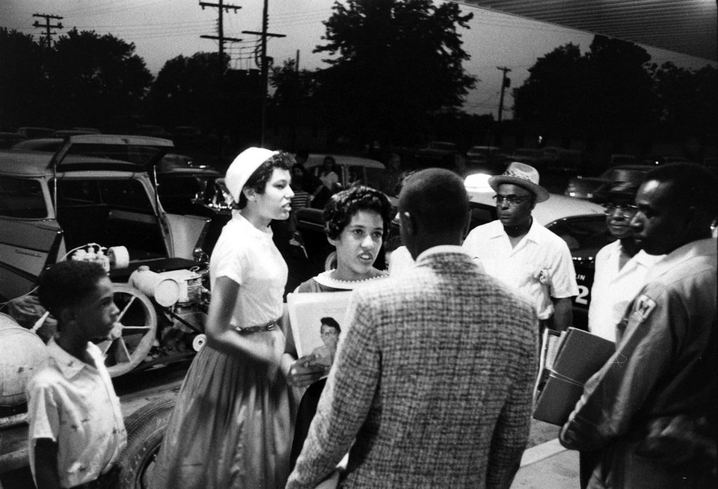 African-American students who were refused admission to their high school football game, Little Rock, Arkansas, 1957.