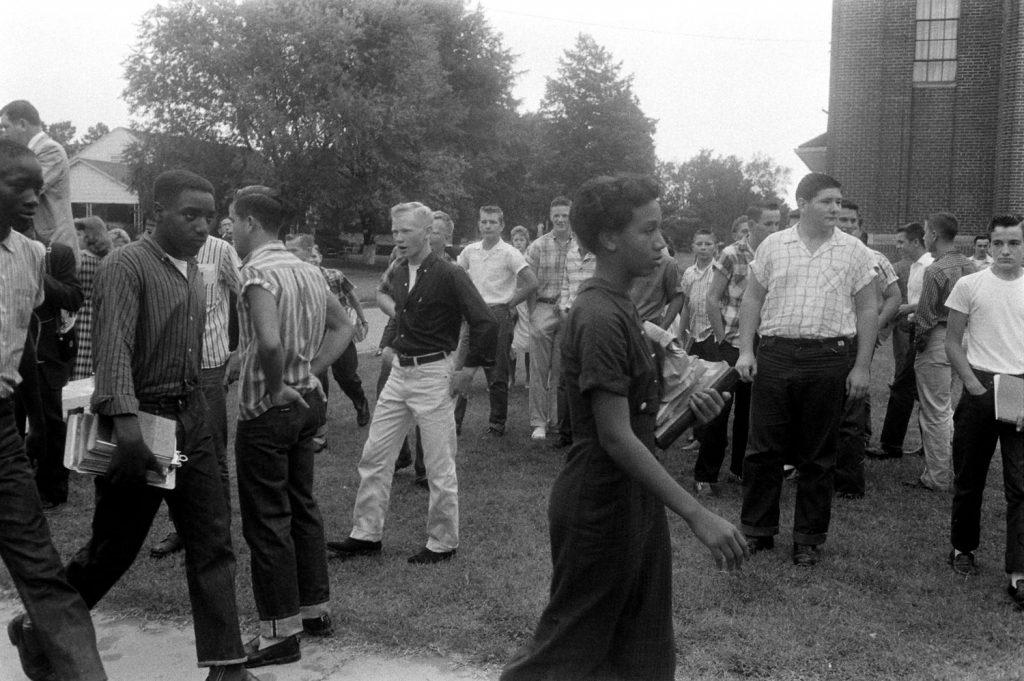 African-American students arrive at school in Van Buren, Arkansas, the year after the Little Rock Nine integrated Little Rock's public schools, September 1958.