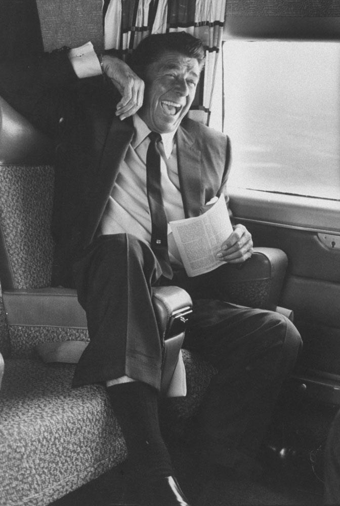 A jubilant Ronald Reagan celebrates victory during California's gubernatorial primary, 1966.