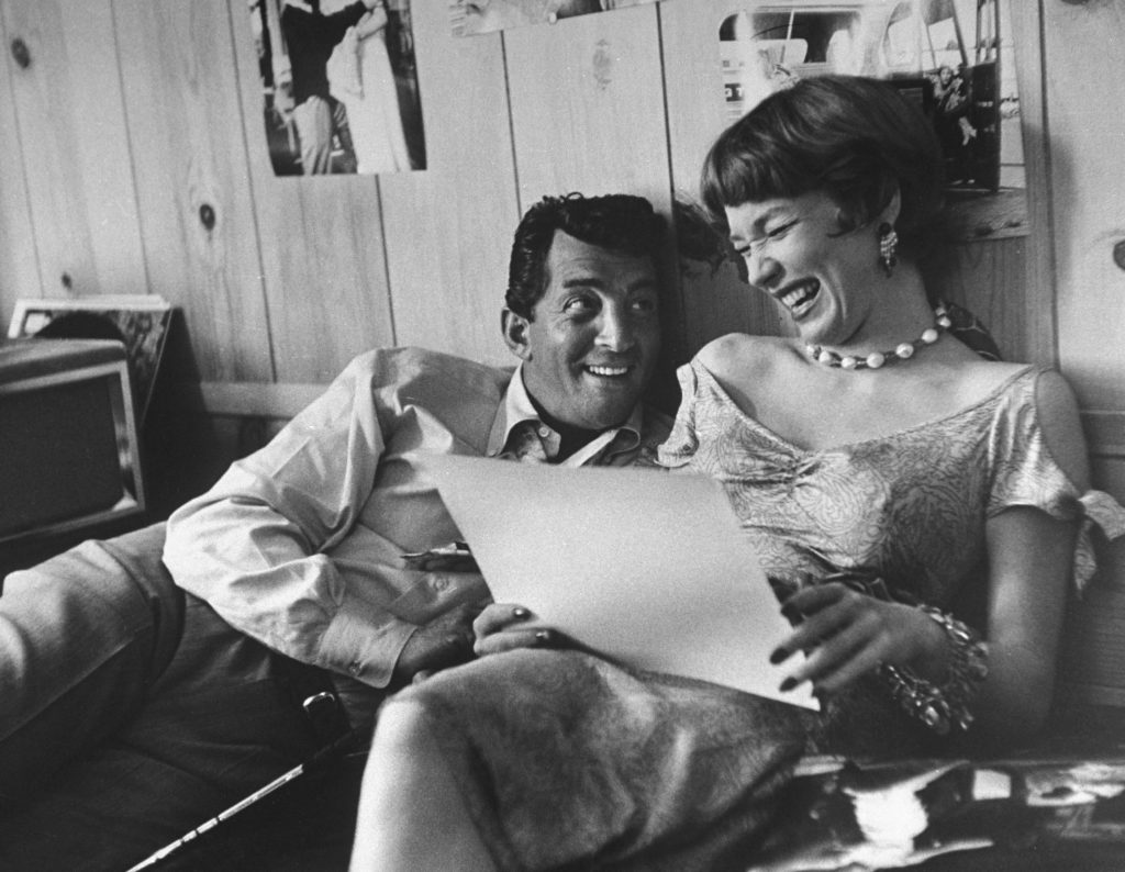 Dean Martin reads lines with Shirley MacLaine, 1958.