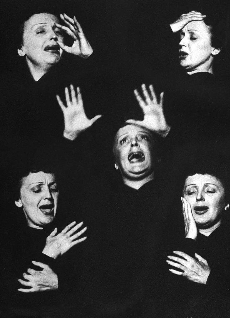 Edith Piaf caught in a montage of expressions and gestures while singing during her performance at New York's Versailles nightclub, 1952.