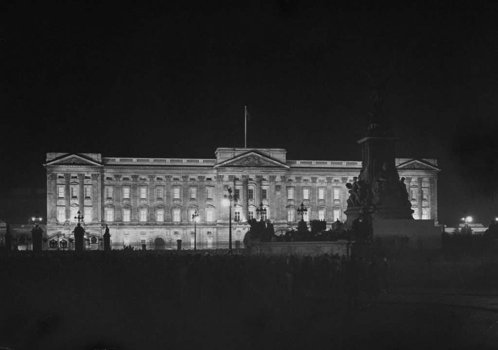 Exterior of Buckingham Palace all lit up on the night of royal wedding, Nov. 20, 1947.