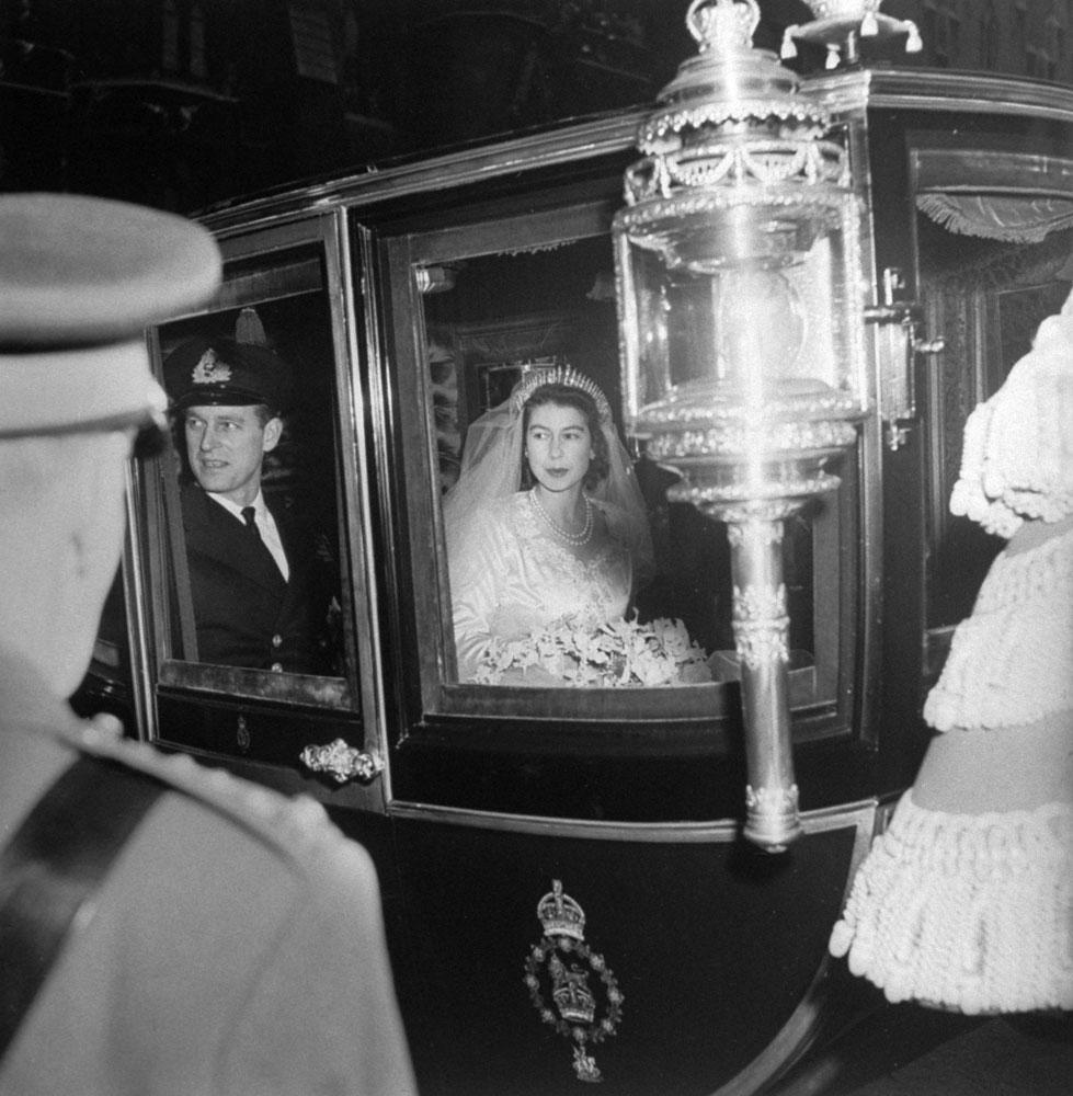 Princess Elizabeth and Prince Philip leave Westminster Abbey after their wedding, Nov. 20, 1947.