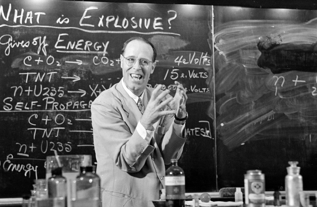 Princeton professor Hubert Alyea lecturing on the chemistry of the atomic bomb, 1953.