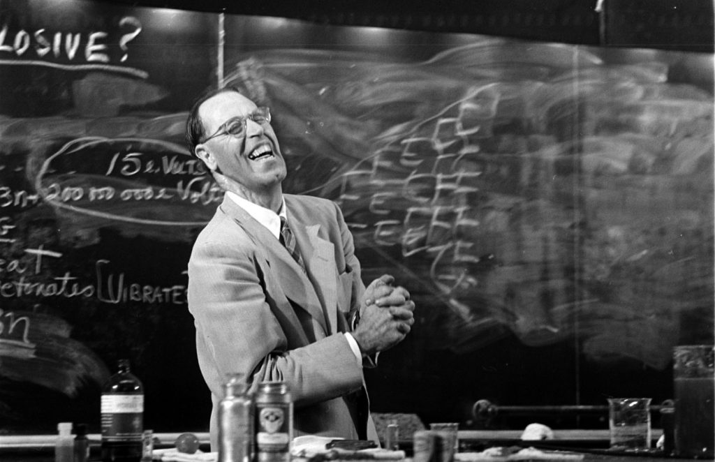 Princeton professor Hubert Alyea delivering a lecture on the chemistry of the atomic bomb, 1953.