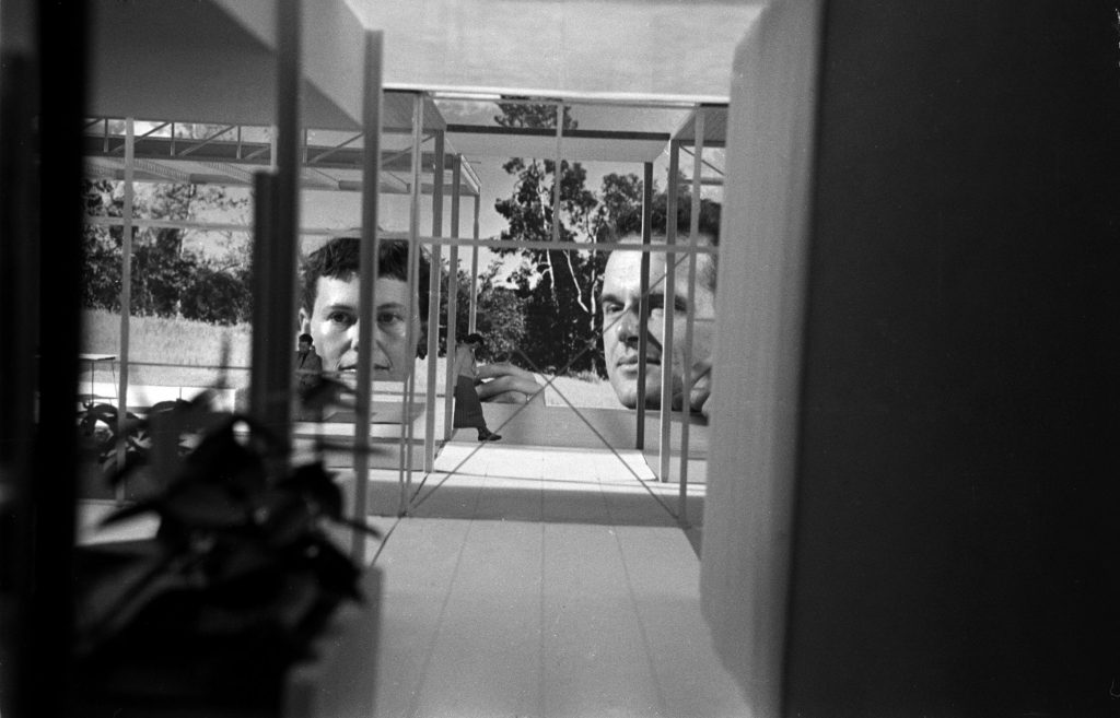 Charles and Ray Eames at home in California, 1950.
