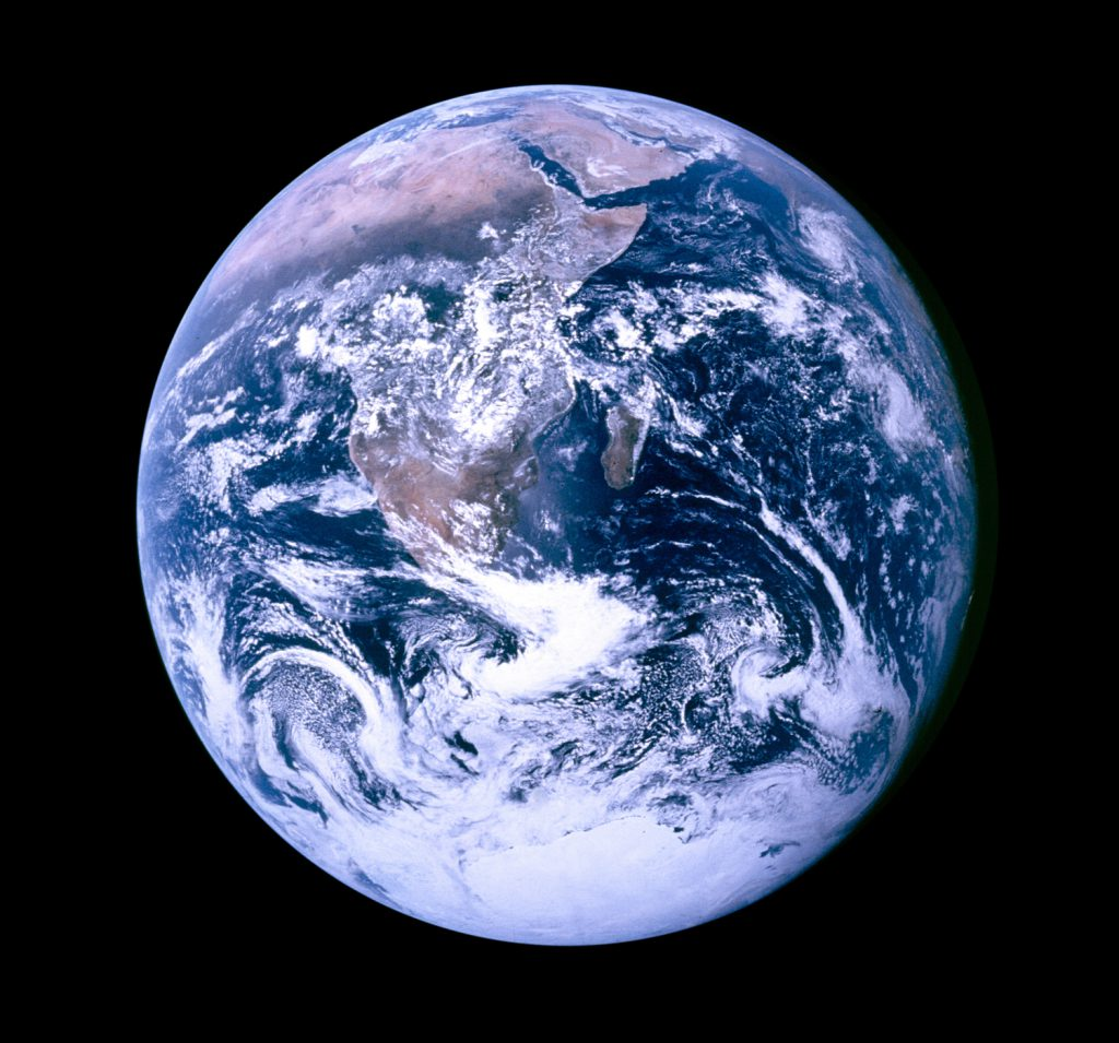 View of the Earth as seen by the Apollo 17 crew traveling toward the moon, Dec. 7, 1972.