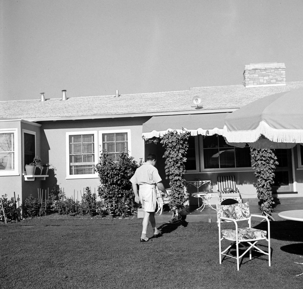 Gangster Mickey Cohen at home in Los Angeles, 1949.