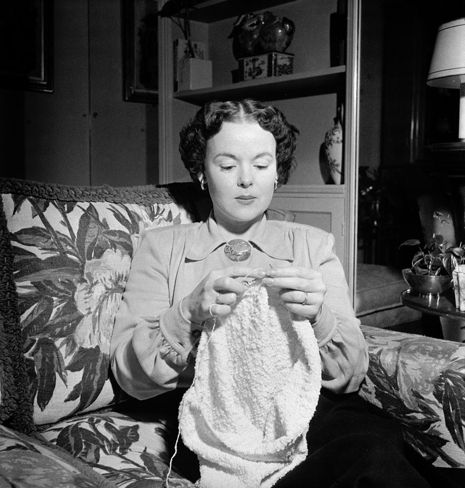 Mickey Cohen's wife, LaVonne, at home in Los Angeles, 1949.