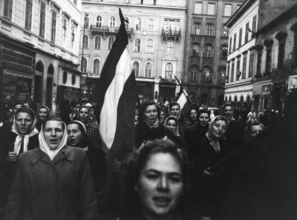 Women march in honor of countrymen who died fighting the Soviets during the Hungarian uprising of 1956.