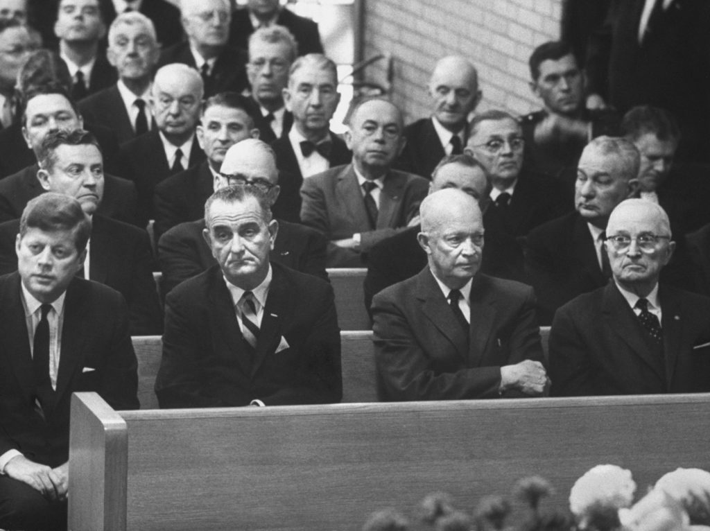 John F. Kennedy, Lyndon Johnson, Dwight D. Eisenhower and Harry S. Truman at Speaker of the House (D-TX) Sam Rayburn's funeral, 1961.